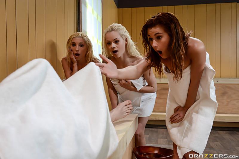 steamiest sauna scene: three girls get racy with each other  173725