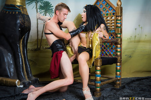Welcome to History 101 at Brazzers University, where the lectures are long and titties are big. In today's class, Rina Ellis learns about Cleopatra. When she discovers that the Egyptian queen was believed to have been so desirable that she could have any