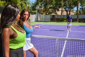 Diamond Jackson and Nikki Benz are enjoying a friendly tennis game when suddenly they're approached by a ball boy, Jordi El Nino Polla. Jordi tries every excuse and chance he can get to be closer to the action—that is, closer to the ladies' tits and asses