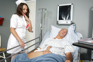 Nurse Lily may seem sweet and innocent, but whenever she comes across a patient with a big dick she gets so excited. Thinking Mr. Lawless is in a catatonic state, she greedily sucks his cock before hiking up her skirt and taking it deep in her pussy. What