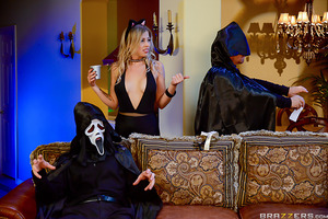 Zoey Monroe and her boyfriend decide to attend Michael Vegas' Halloween party. But when Zoey and her boyfriend arrive, they're the only guests at the party! Feeling horny as fuck in her sexy kitten costume, Zoey is in for a trick and treat this Halloween-