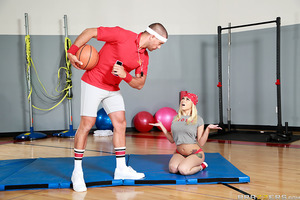 Mr. Nomar is keeping Marsha after gym class for some extra instruction. He has her do some push ups but she can't quite do them, her tits are just too big! Next he gets her to squat - better, but still not good enough. He tells this slutty student she's i