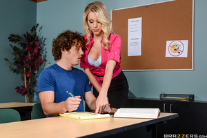 Katie loves giving certain students extra attention. Robby has been struggling in her class for a while, but she's happy to give him some one-on-one time. He has no idea this teacher preys on clueless young jocks who can't resist her big tits.
