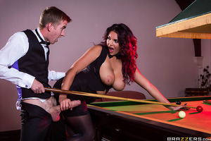 When two of the top snooker players in the world go head to head, Emma Leigh will try anything to distract her opponent, Danny D. Emma teases Danny by rubbing her pool cue between her huge tits, then stretches her sweet ass across the table while taking a