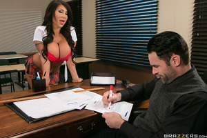 August Taylor has the hots for her teacher, Charles Dera, but he doesn't seem to notice her. Busty August tries her best, or should we say breast, to get her teacher's undivided attention but her constant tit teasing only makes things harder—for Mr. Dera'