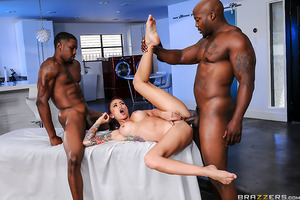 Monique's sex spa is attracting so much business she accidentally double booked two clients! Lucky for her they're willing to share, so long as she's willing to take their big black cocks up her tight ass.