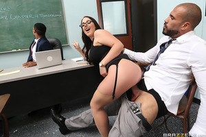 Angela White and her big boobs have had enough of her disruptive student's behavior in her class. Seems to Ms. White that her student rather fool around with his girlfriend than actually learn anything. Busty Angela decides to have a parent-teacher meetin