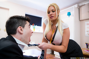 Michelle Thorne is one horny and bored teacher who just wants to get fucked. Unluckily for her, student Jordi is too focused on passing his English lessons to notice how this busty professor is hungry for his cock! Ms. Thorne tries her best to take Jordi'