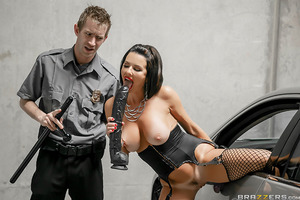 Veronica Avluv is a slutty exhibitionist who loves to startle unsuspecting civilians by flashing them her tits and showing off her dildo fucking skills in a parking lot. But when one traumatized couple calls down the garage's security to handle Ms. Avluv,