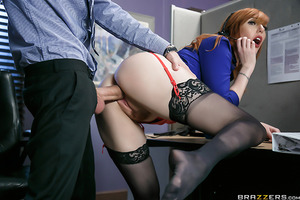 Lauren's never worked as a telemarketer, but luckily she's got a great script to read from. Her cold calls get hot fast, but this isn't the kind of work she signed up for! Her boss helps her sell hard and fast by playing with her big tits and fucking her