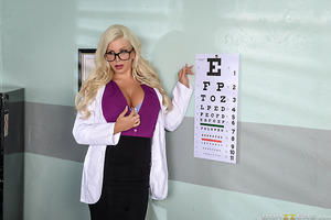 Johnny Castle is due for an eye exam and decides to visit the new optometrist, Savannah Stevens. Johnny's vision is perfectly fine, only he's more interested in getting up close and personal with the busty doctor—and her tits that is! Will Dr. Stevens be