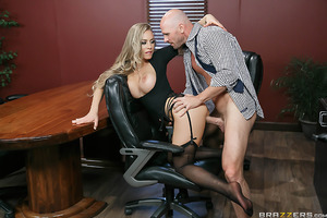 Office boss Nicole Aniston's afternoon masturbation session is interrupted when her employees occupy the conference room and threaten to form a union unless their demands are met. Irritable and horny, Nicole breaks up the meeting by fucking and sucking th