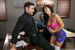 Valerie loves fucking her boyfriend after class, and Professor Dera's empty classroom is the perfect place to get freaky. That is, until Professor Dera catches her in the act! Wanting to smooth things over with the handsome older man, Valerie dismisses he