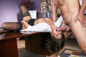 Ramon is the boss of the office and has noticed that one of his employees, the beautiful Eva Angelina, has been stressed out lately. Ramon enters her office and notices that she hasn't gotten any work done so he hides a camera in Eva's office and soon dis