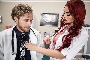Who takes care of doctors when they get sick? The nurse! When Dr. Vegas is looking a little unwell, redhead nurse Skyla offers to check him out and make sure everything is okay. Little does he know she has something else in mind. Her big tits and wet puss