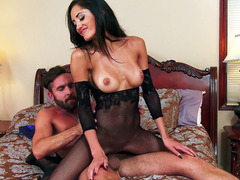 e3e68f3b256 Chloe Amour rips off her black pantyhose to make way for this guy s long  cock - 3prn.com